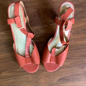 Retro T-strap sandals with a heel